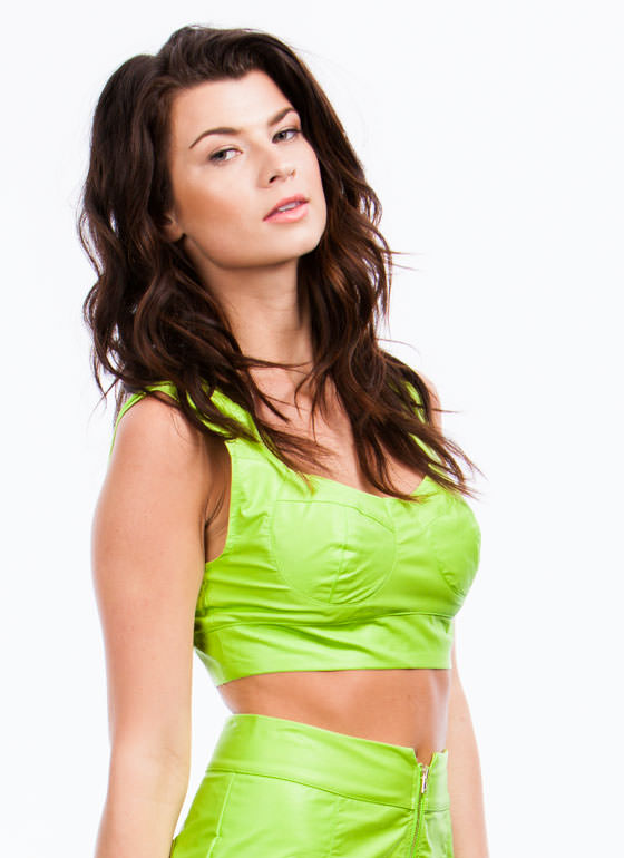 Lady In Leather Bustier Cropped Top LIME (Final Sale)