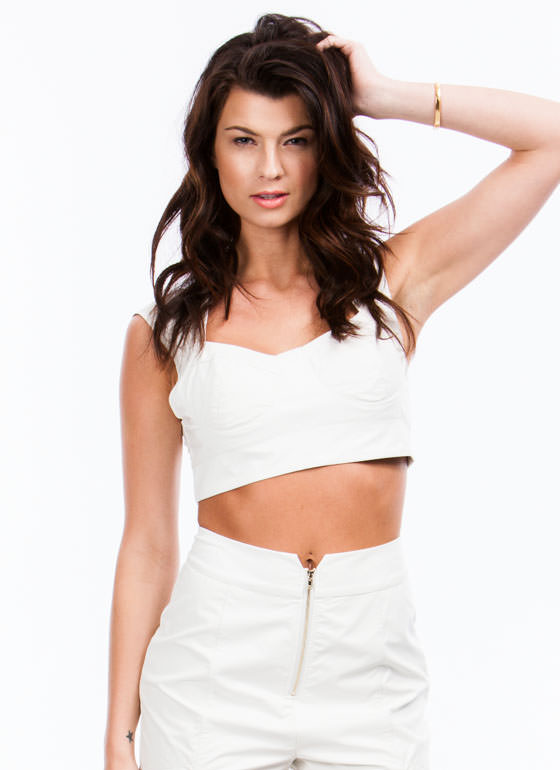 Lady In Leather Bustier Cropped Top WHITE