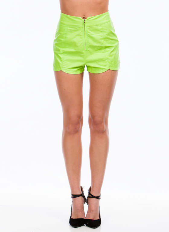 Lady In Leather Shorts  LIME