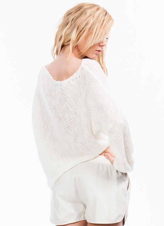 Asymmetrical Knit Sweater IVORY