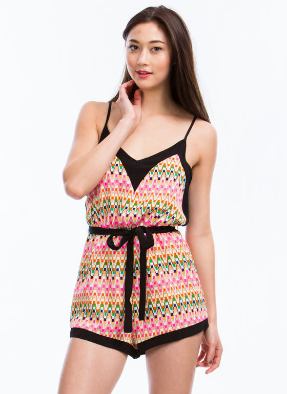 Pixelated 8 Bit Printed Romper BLACKPINK