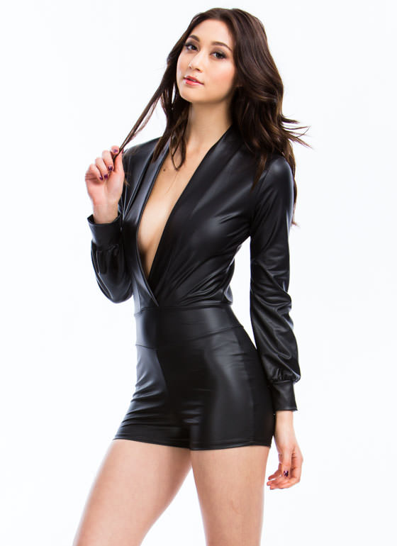 Sleek Your Mind Plunging Romper BLACK