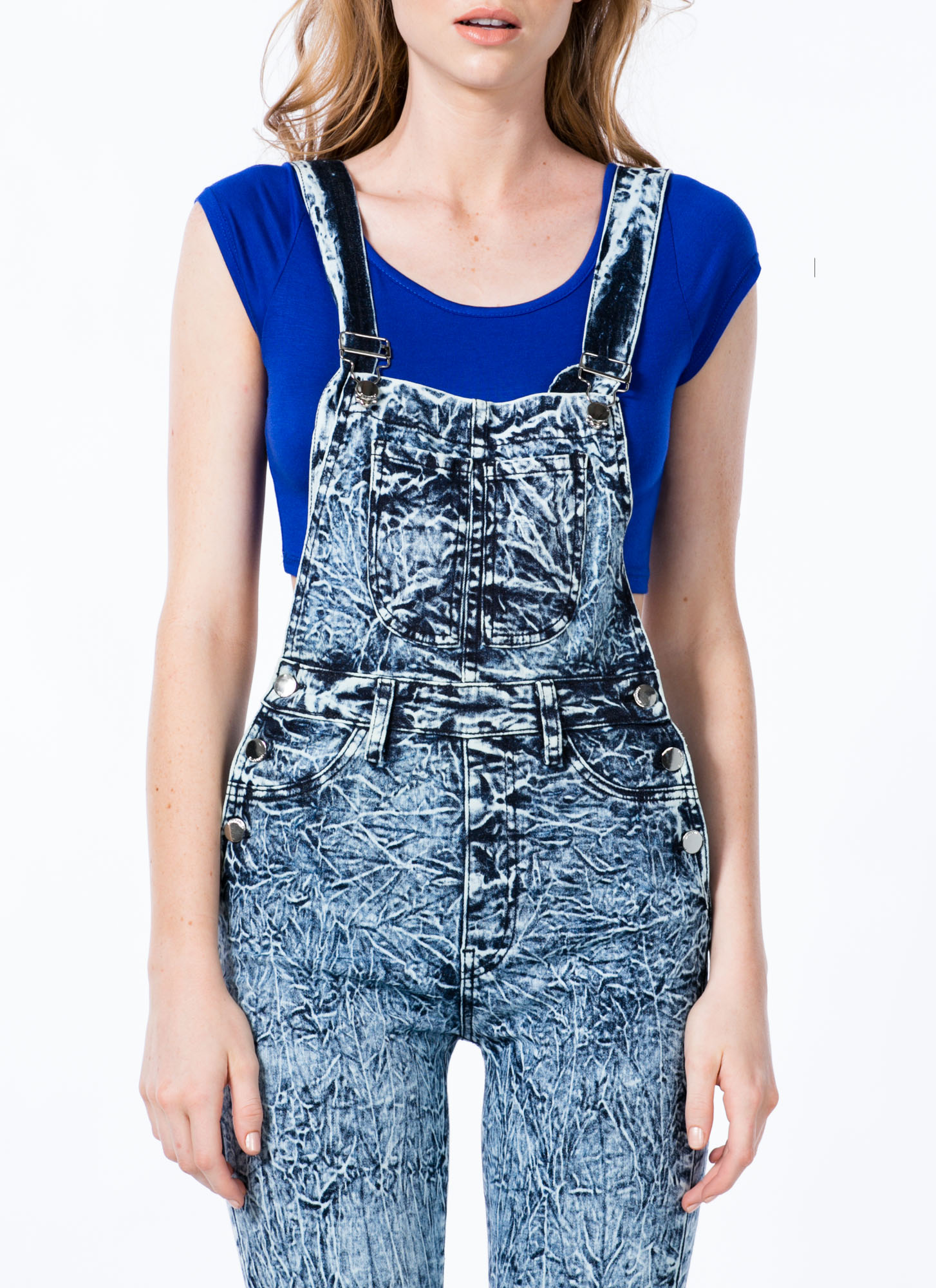 Crackle Pop Acid Wash Skinny Overalls BLUE