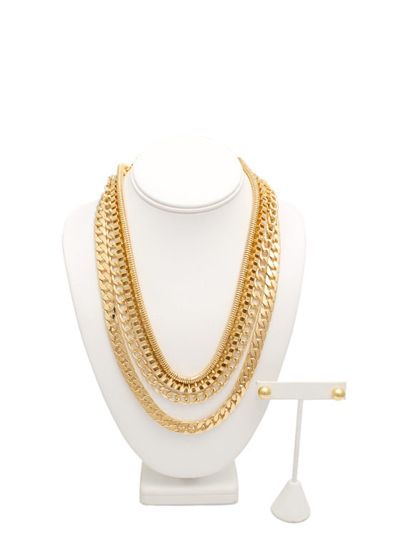 Four Chain Metal Necklace Set GOLD