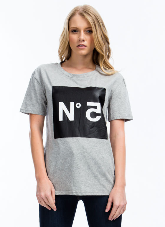 No 5 Graphic Tee HGREY