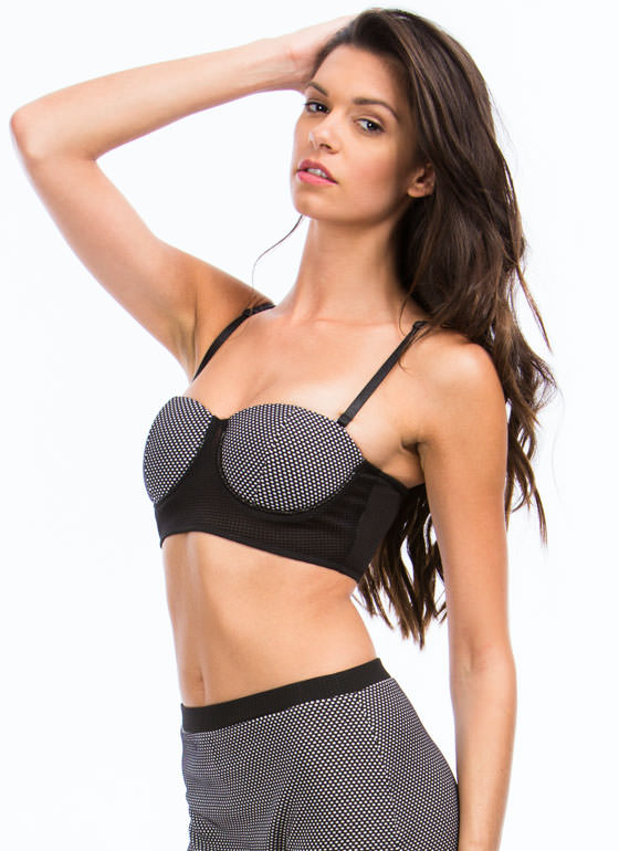Colorblock N Polka Dot Bra Top BLACKWHITE