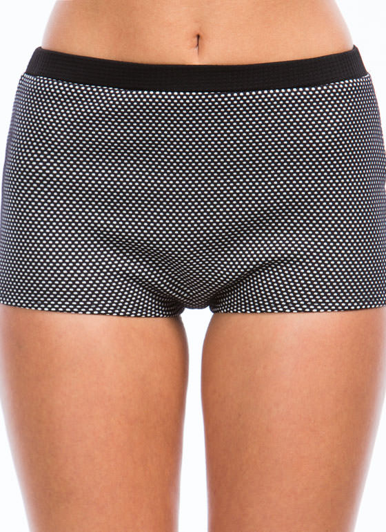 Colorblock N Polka Dot Shorts BLACKWHITE