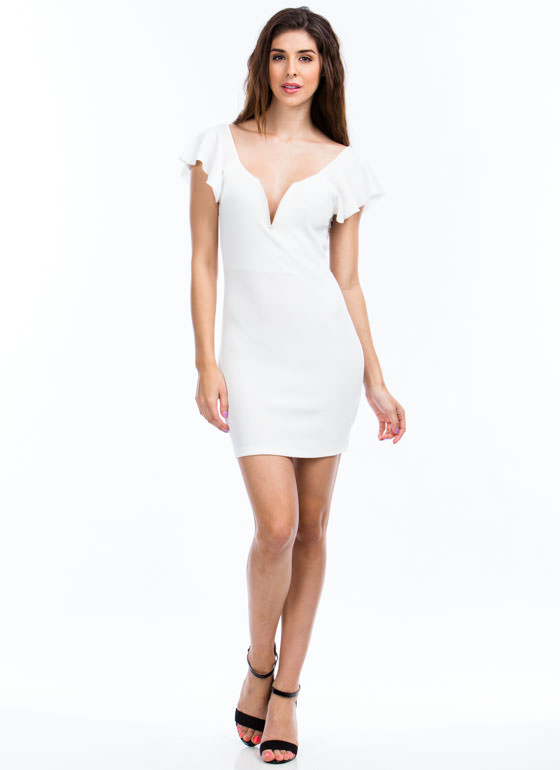 Flutter Off-The-Shoulder Bodycon Dress WHITE