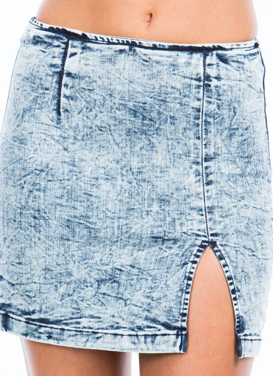 Daily Acid Wash Denim Skirt LTBLUE