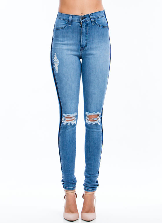 Knee Deep Destroyed Skinny Jeans BLUE
