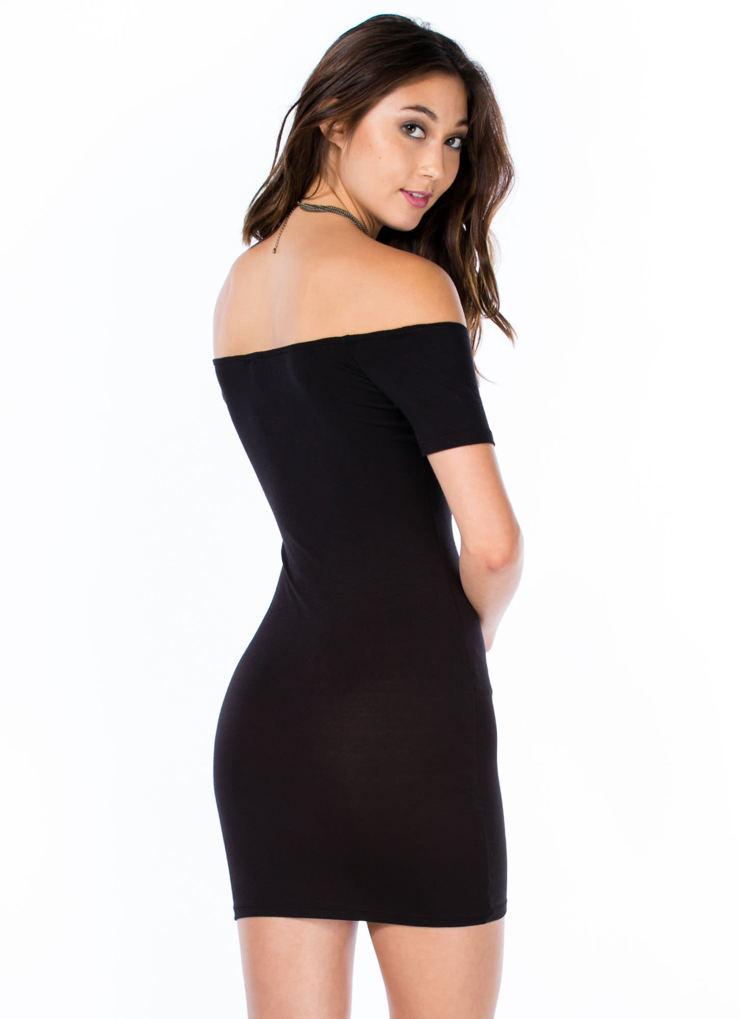 Basic Instincts Off-Shoulder Dress BLACK
