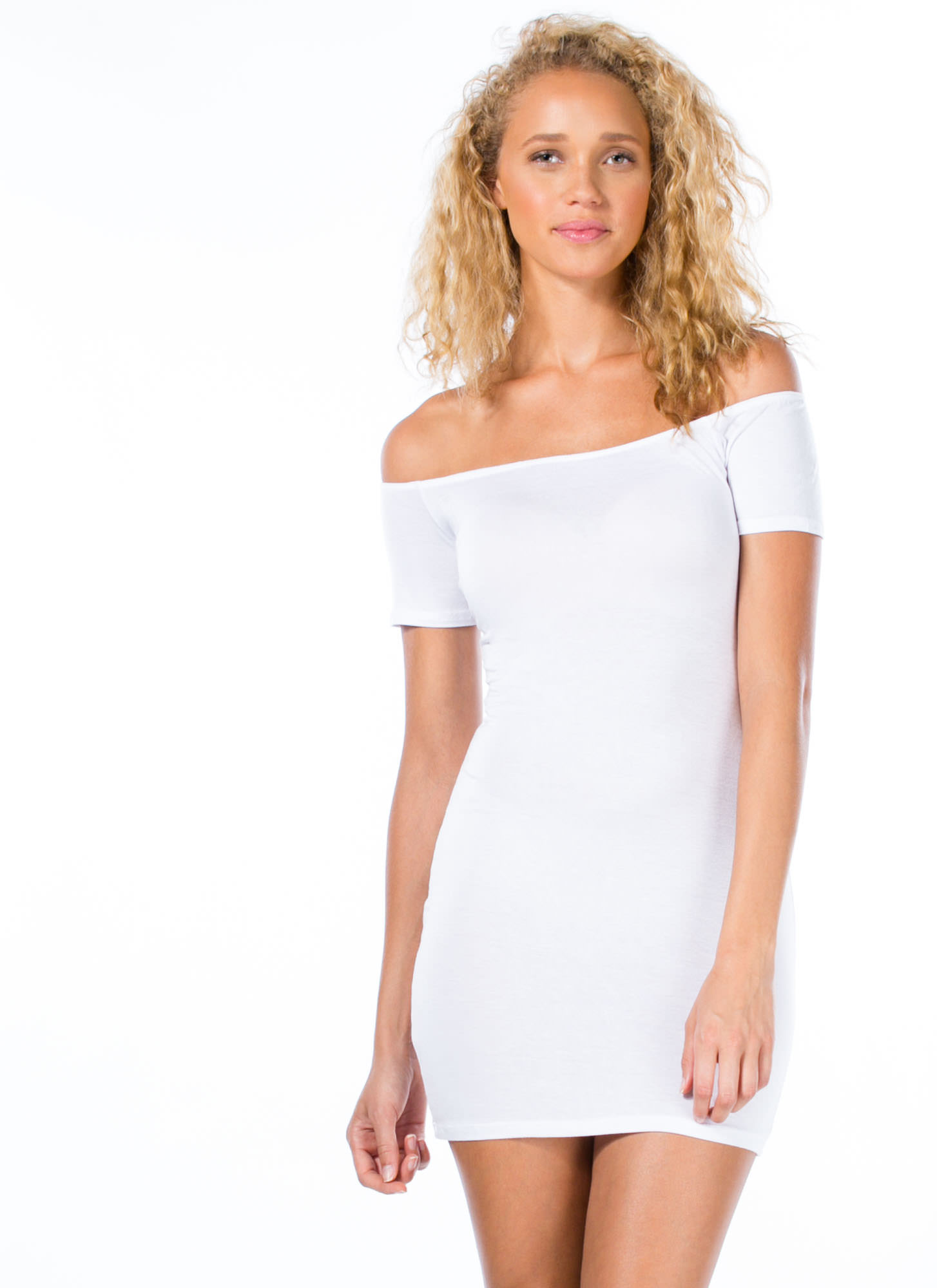 Basic Instincts Off-Shoulder Dress WHITE