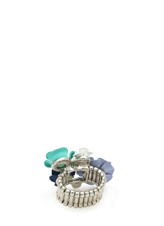 Floral N Pearl Bouquet Ring BLUEMULTI
