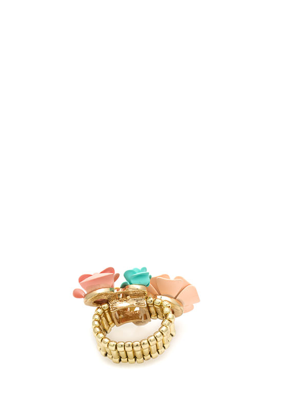 Floral N Pearl Bouquet Ring CORALMULTI