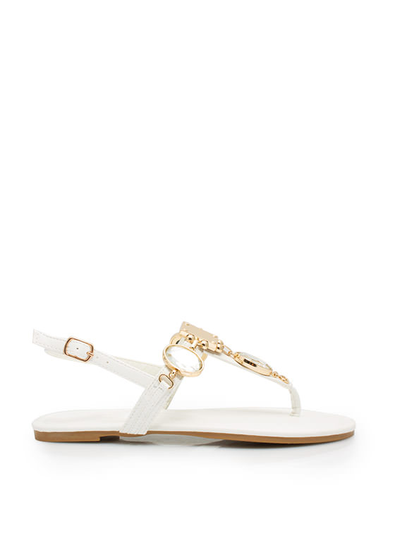 Mirrored Gleam Embellished Sandals WHITE