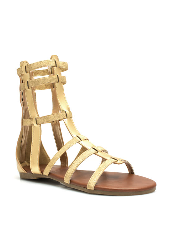 Metallic Action Gladiator Sandals GOLD