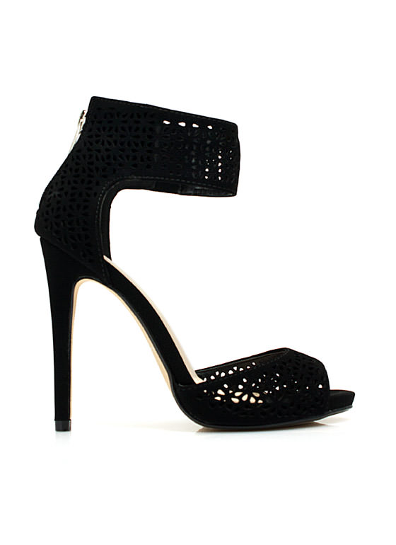 Wine 'N Dine Laser Cut-Out Heels BLACK