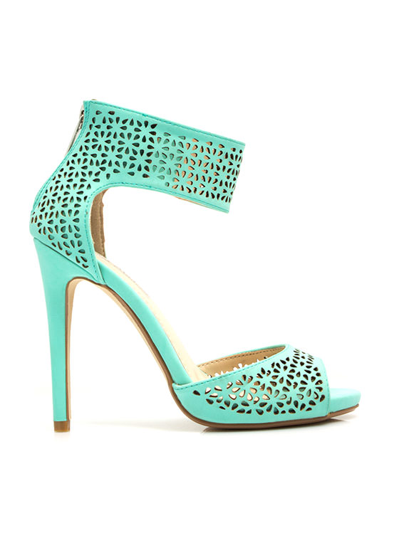 Wine 'N Dine Laser Cut-Out Heels MINT