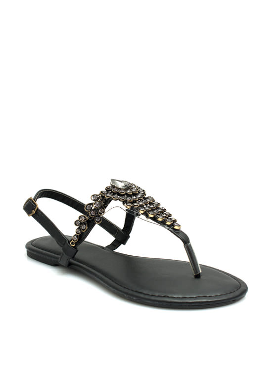 Proud As A Peacock Jeweled Sandals BLACK
