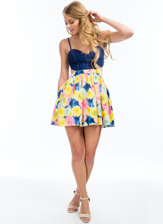 Denim Bouquet Flared Dress MULTI