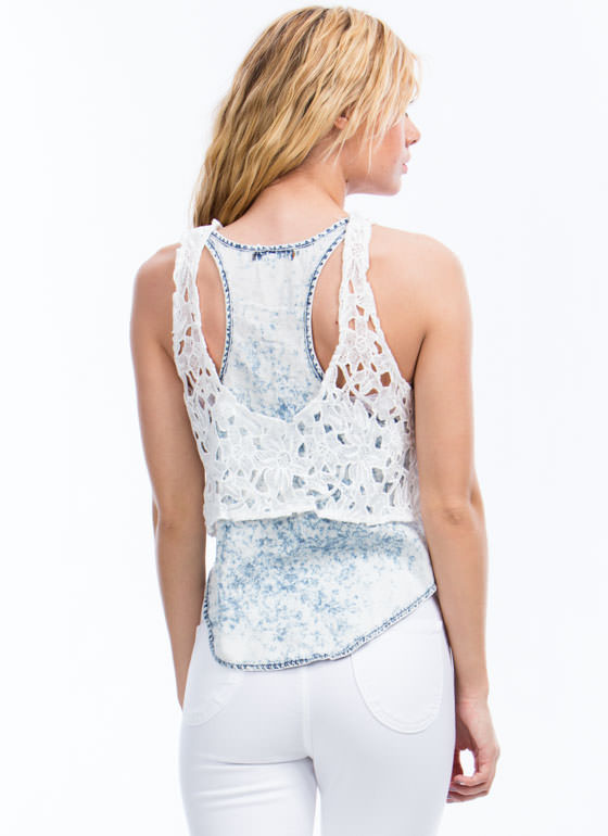 Sweet And Sour Chambray Crochet Tank IVORY