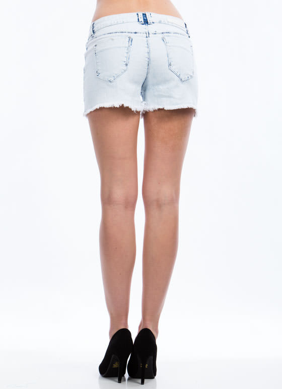 You're A Bright Girl Cut-Off Shorts LTBLUE