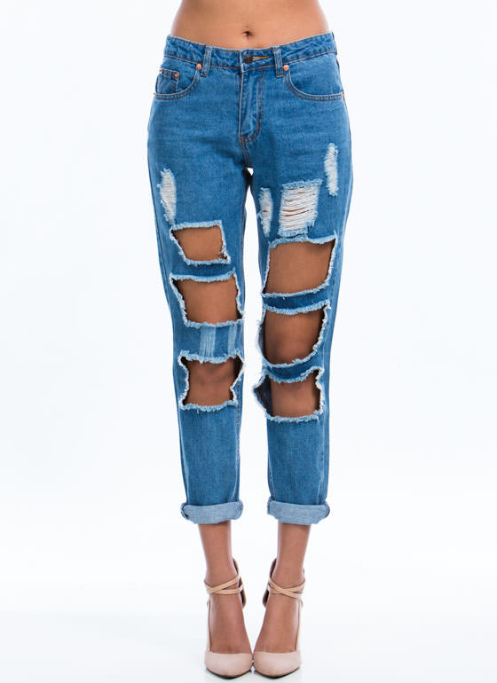 Squared Cut-Out Relaxed Jeans BLUE