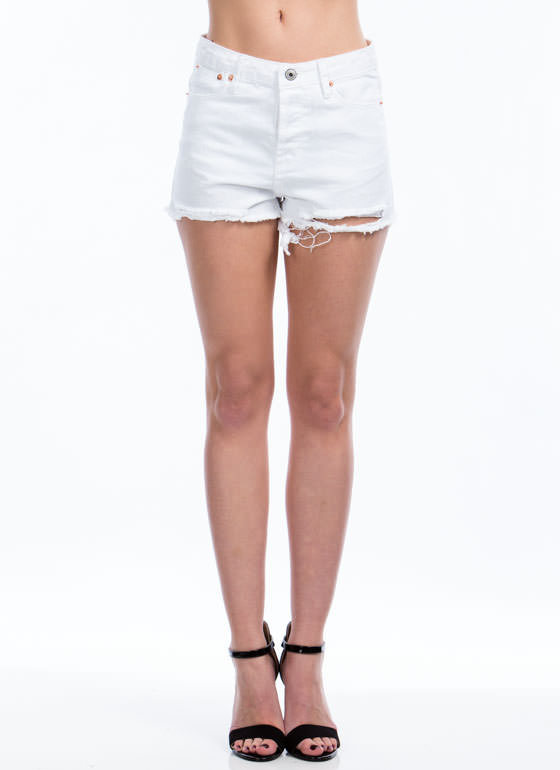 Up In Shreds Cut-Off Shorts WHITE