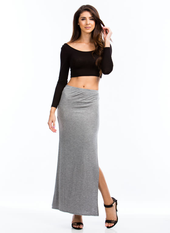 Get Your Slit Together Maxi Skirt HGREY