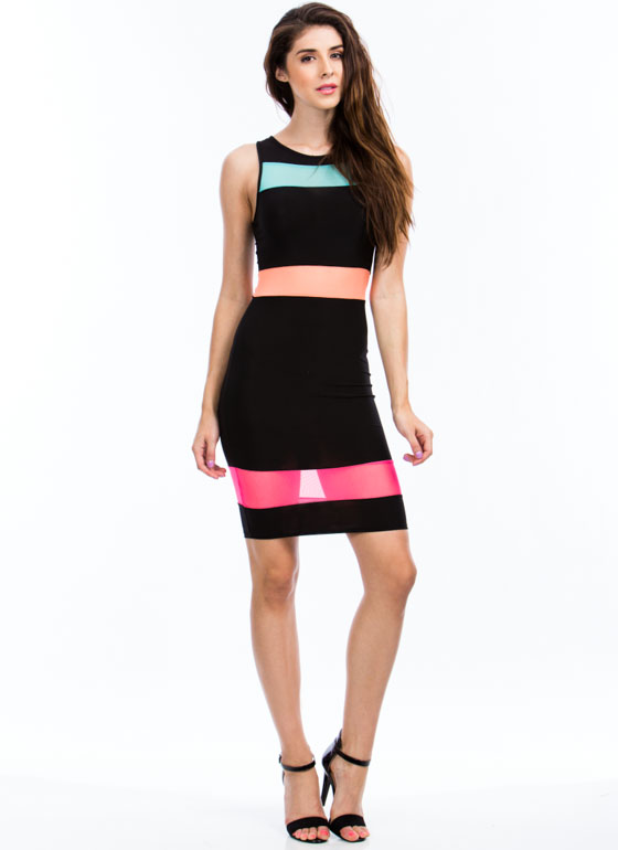 Mesh 'N Colorblock Bodycon Dress BLACK