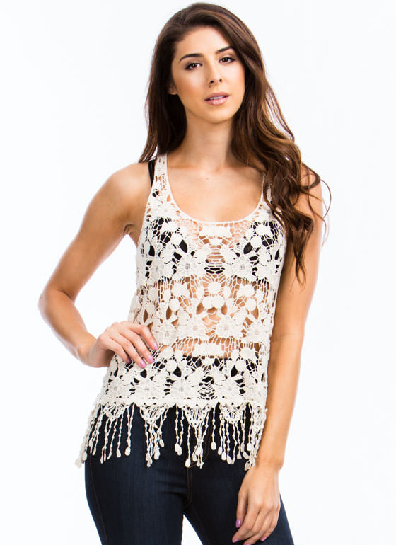 Lady In Crochet Tank NATURAL