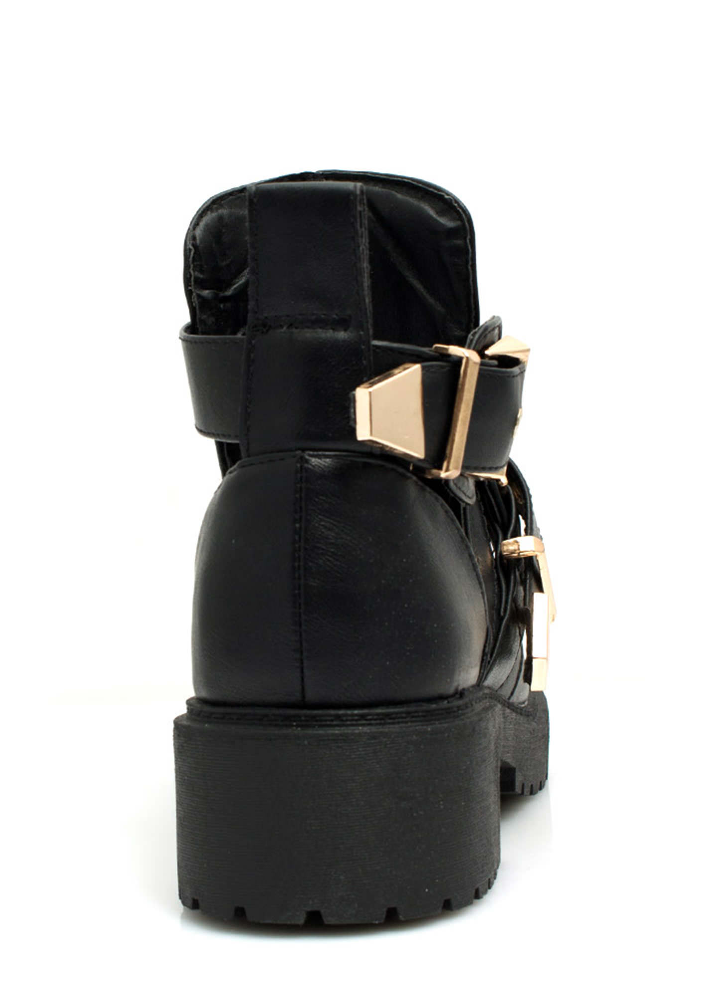 Cut-Out Double Buckle Lug Booties BLACKGOLD