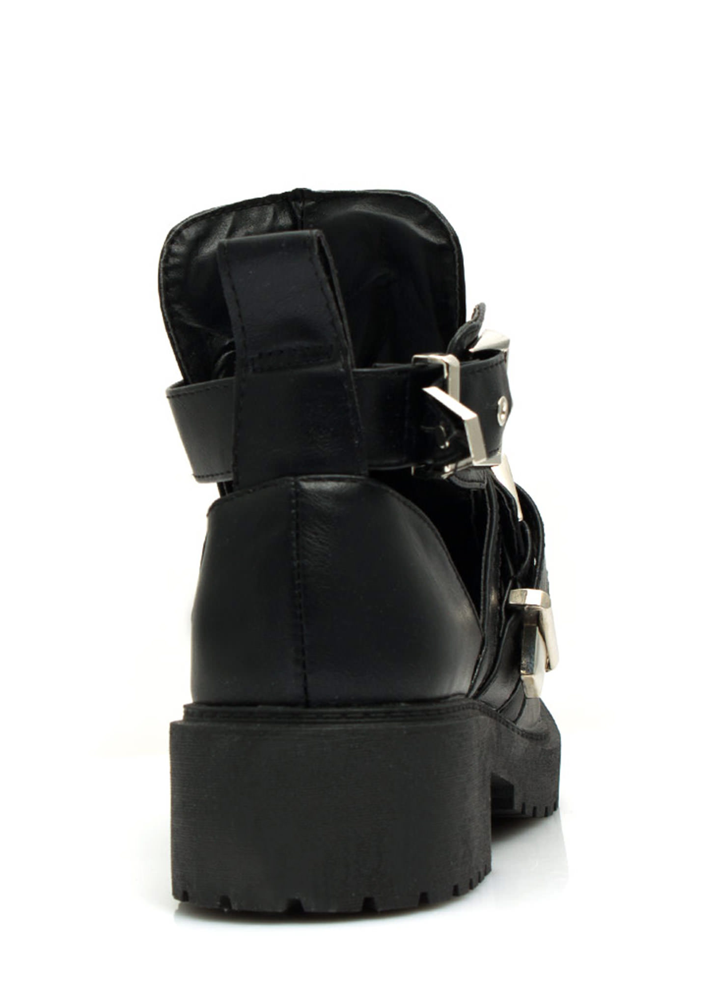 Cut-Out Double Buckle Lug Booties BLACKSILVER