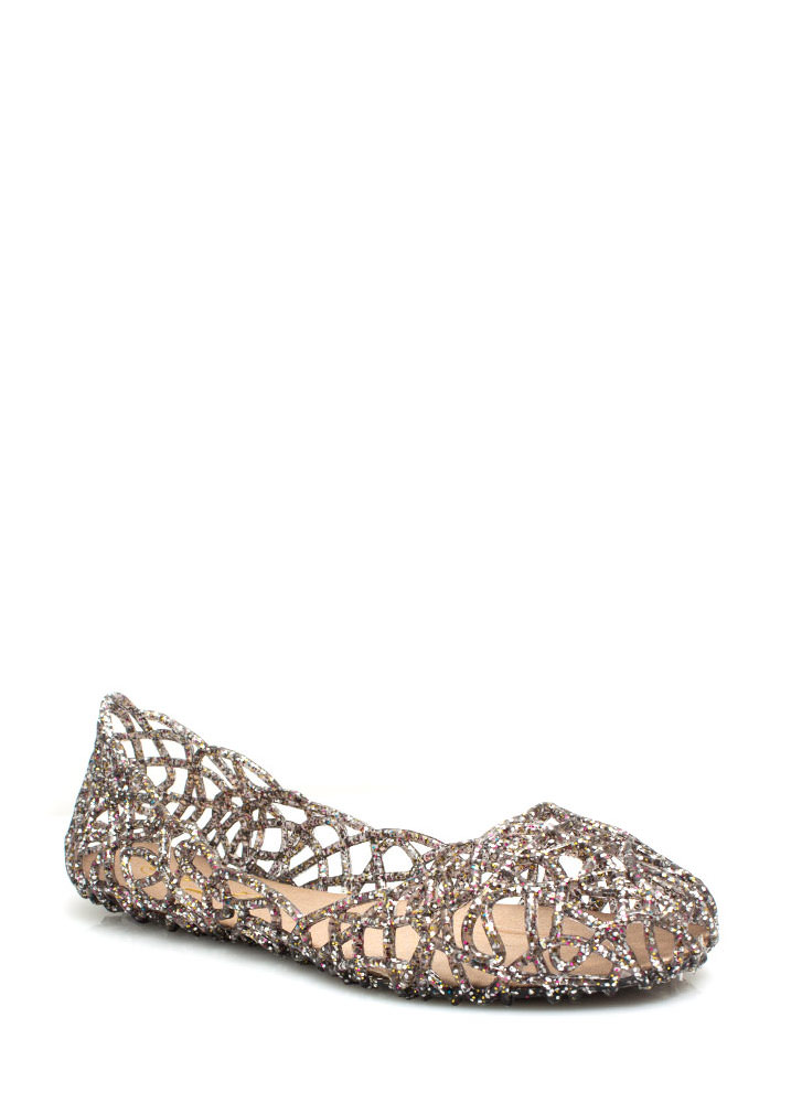 Layered Lines Jelly Ballet Flats PEWTER