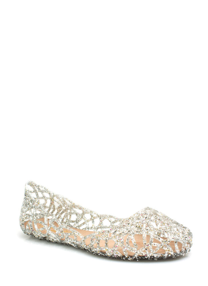 Layered Lines Jelly Ballet Flats SILVER