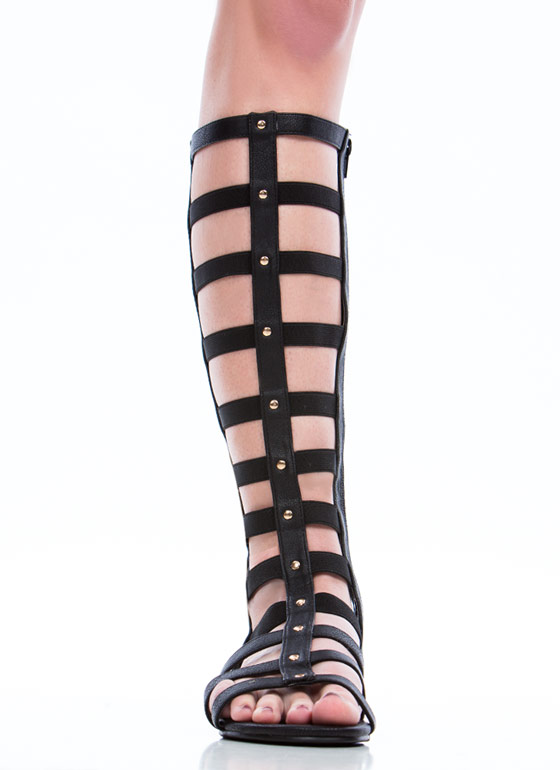 Caged Arena Gladiator Sandals  BLACK