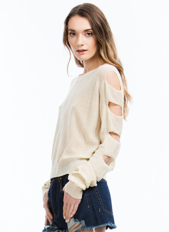 Climb Up Ladder Cut-Out Sweater TAUPE