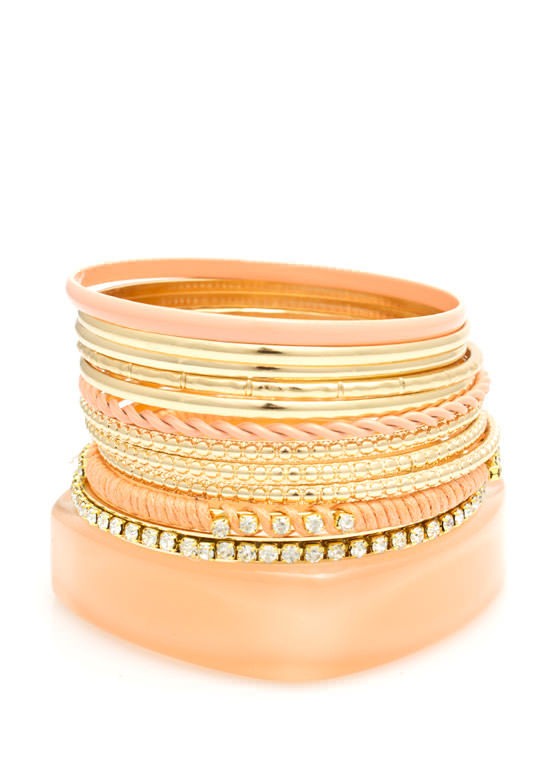 Twisted N Textured Bangle Set  PEACH