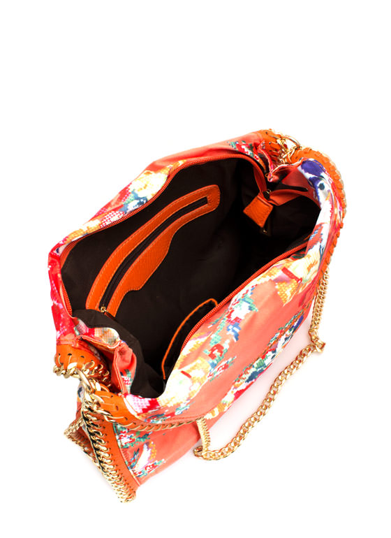Floral Tapestry Print Chain Trim Bag CORAL
