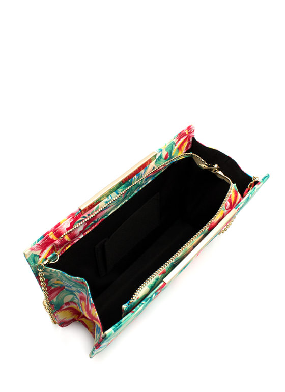 Tropical Floral Print Clutch IVORYMULTI