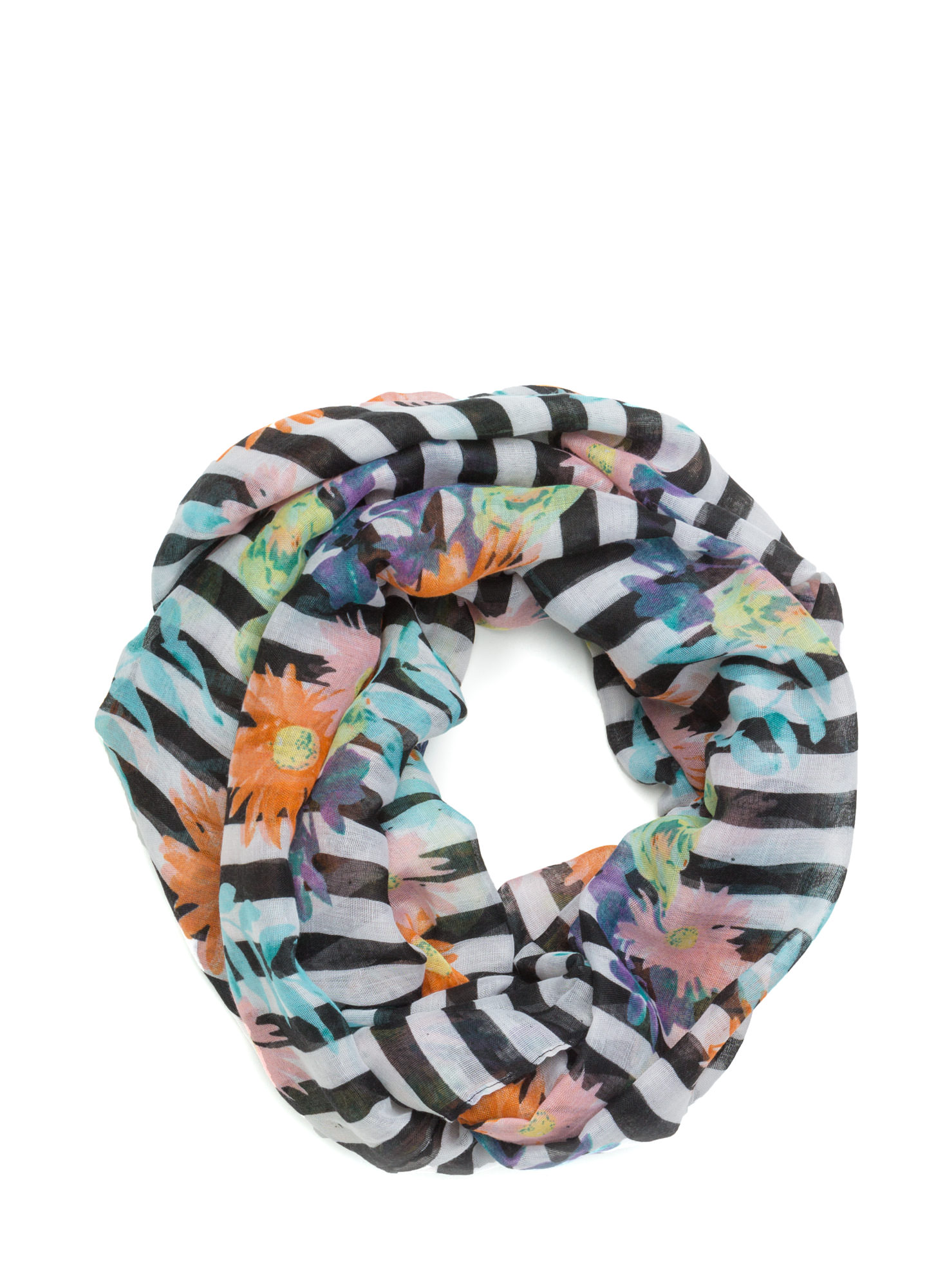 Striped Floral Print Infinity Scarf BLACK