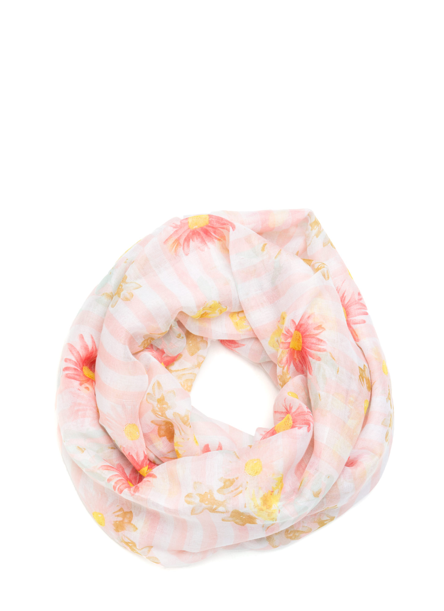 Striped Floral Print Infinity Scarf PEACH