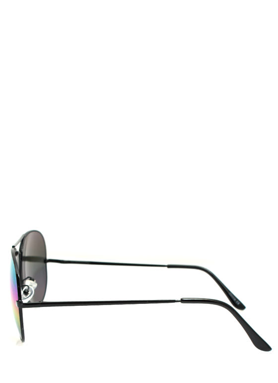 Hologram Lens Aviator Sunglasses BLACKMULTI