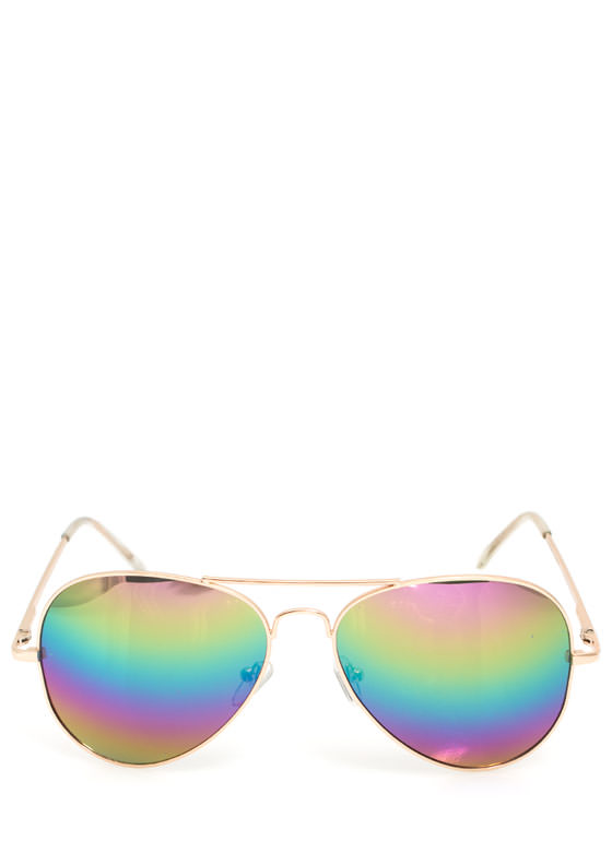 Hologram Lens Aviator Sunglasses GOLDMULTI