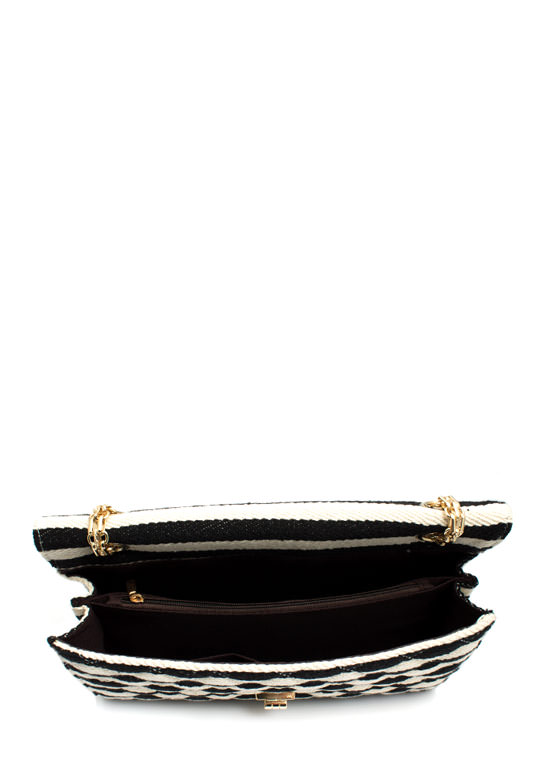 Canvas Striped N Quilted Bag BLACK