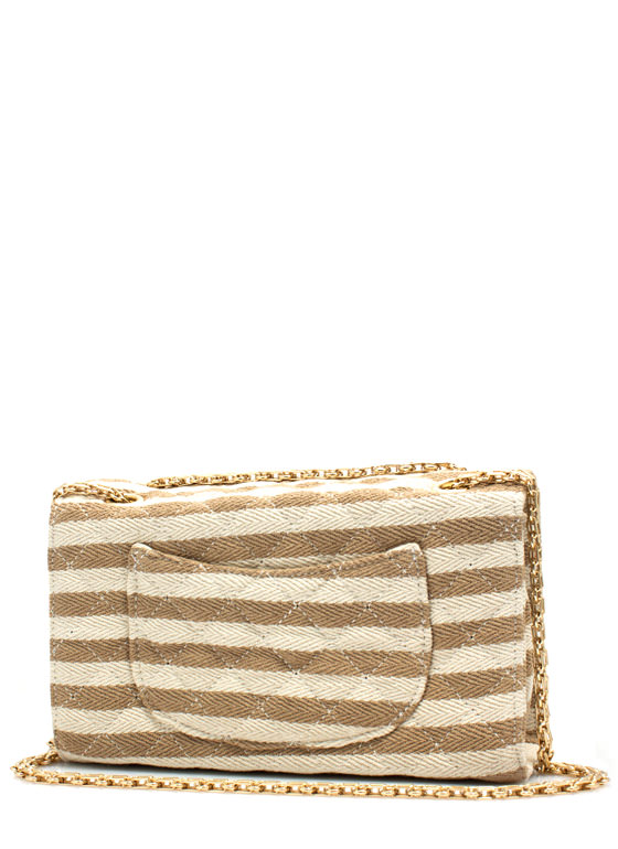 Canvas Striped N Quilted Bag KHAKI