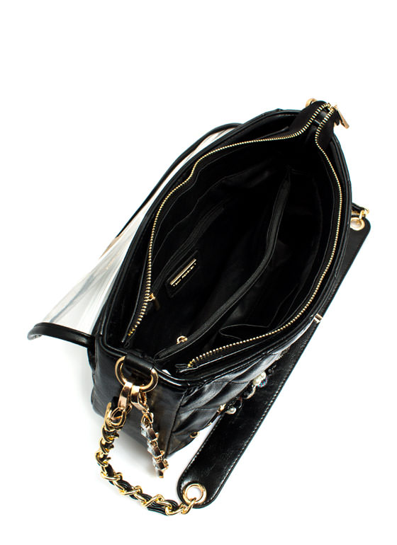 Quilted Faux Jewel Adorned Handbag BLACK