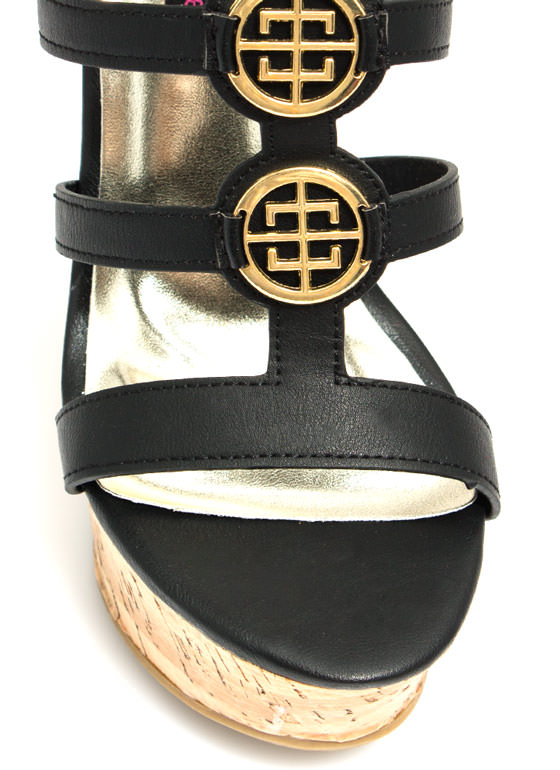 Double Medallion Cork Wedges BLACK