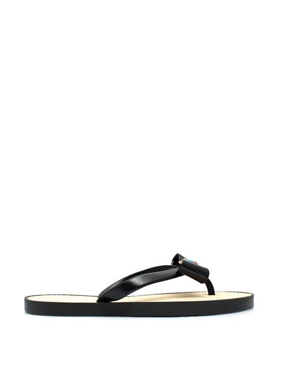 Just Say Bow Thong Sandals  BLACK