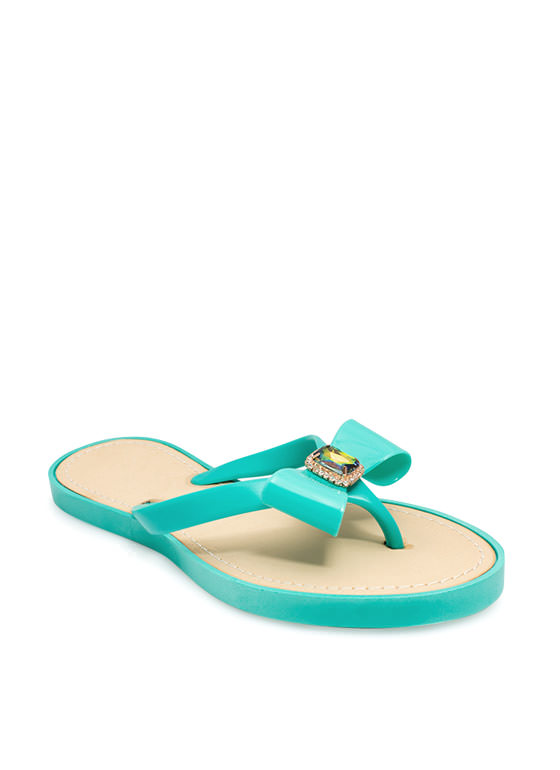 Just Say Bow Thong Sandals  SEAFOAM